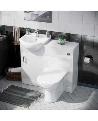 Marovo 450mm Vanity Basin Unit, WC Unit & Elso Back To Wall Toilet White