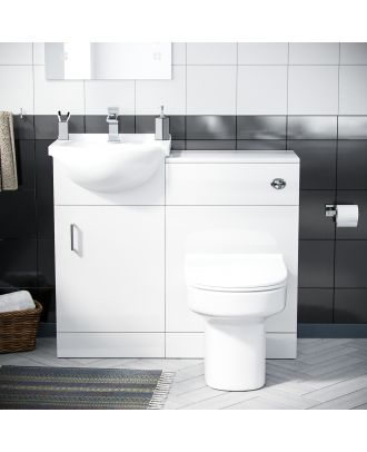 Marovo 450mm Vanity Basin Unit, WC Unit & Chem Back To Wall Toilet White