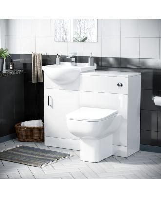 Marovo 450mm Vanity Basin Unit, WC Unit & Debra Back to Wall Toilet White