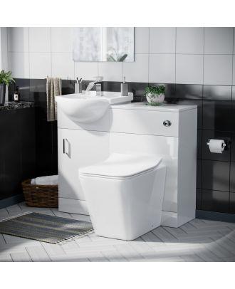 Marovo 450mm Vanity Basin Unit, WC Unit & Elora Back to Wall Toilet White