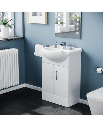 Marovo 550mm Floorstanding FP Vanity Basin Unit White
