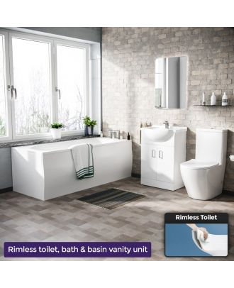 Pleck 1700mm Round Bath, 550mm Vanity Unit and Curved Toilet Suite White
