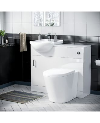 Marovo 550mm Floor Standing Cabinet Gloss White With Round Back To Wall Toilet