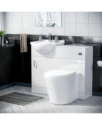 Marovo 450mm Vanity Basin Unit, WC Unit & Round Back To Wall Toilet White