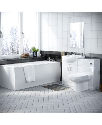 Marvovo 1700mm Bath, 550mm Vanity Basin Unit FP, WC Unit & Elso Back To Wall Toilet White