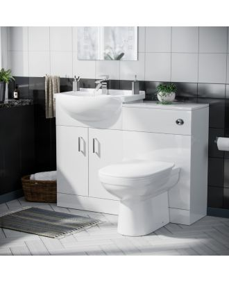 Marvovo 550mm Vanity Basin Unit FP, WC Unit & Elso Back To Wall Toilet White
