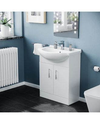 Marovo 650mm Floorstanding FP Vanity Basin Unit White