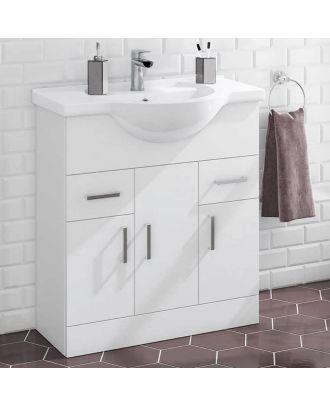 Marovo 750mm  Floor Standing 3 Door Basin Vanity Unit Gloss White