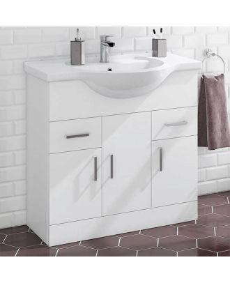 Marovo 850mm Floor Standing 3 Door Basin Vanity Unit Gloss White