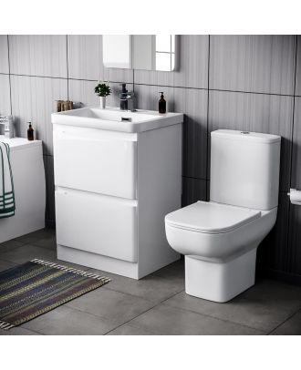 Deyes 600mm Basin 2 Drawer Vanity Basin Unit & Bleu Close Coupled Toilet White