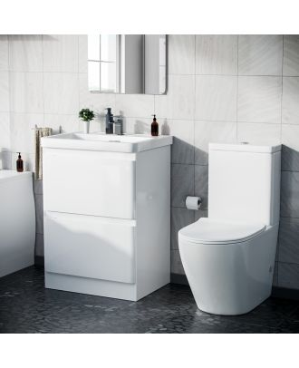Alaska 600mm Floor Standings Vanity Unit And Curved Close Coupled Toilet White Gloss
