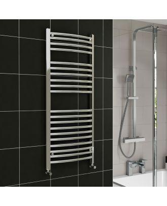 Lois Chrome Curved Ladder Towel Rail Radiator 1200mm x 300mm
