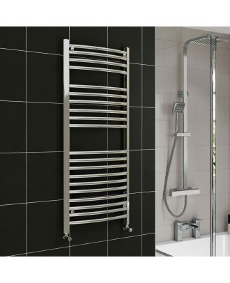 Lois Chrome Curved Ladder Towel Rail Radiator 1200mm x 600mm