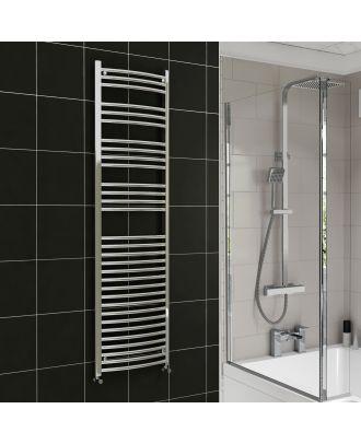 Lois Chrome Curved Ladder Towel Rail Radiator 1800mm x 500mm