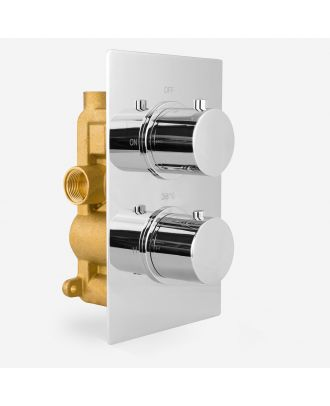 Lily Round 2 Dial 1 Way Chrome Concealed Thermostatic Shower Mixer Valve