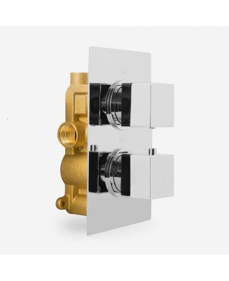 Faye Square Concealed Thermostatic Shower Mixer Valve Chrome