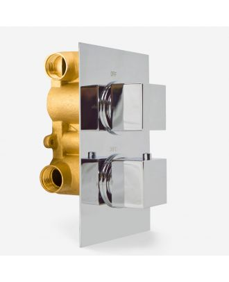 Zelso Modern Square 2 Way Concealed Thermostatic Shower Mixer Valve - Chrome