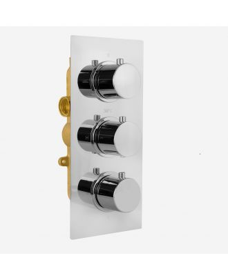 Lily 3 Dial 2 Outlet Round Concealed Thermostatic Shower Valve