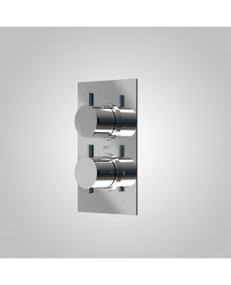 Teslie 2 Dial  2 Outlet Round Concealed Thermostatic Mixer Valve Chrome