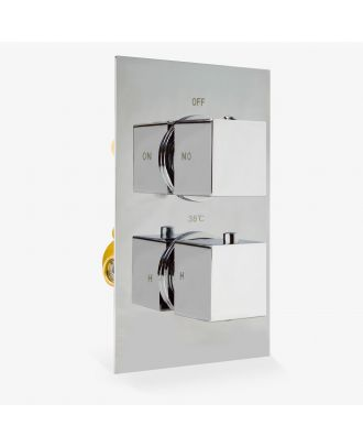 Plum Square 2 Dial 1 Outlet Square Concealed Thermostatic Mixer Valve