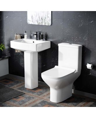 Cyan Rimless Toilet with 560 mm Full Pedestal Square Basin