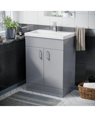 Pileh 600mm Floorstanding Vanity Basin Unit Light Grey