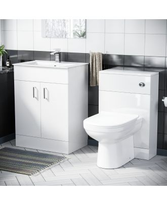 Pileh 600mm Vanity Basin FP, WC Unit & Elso Back to Wall White