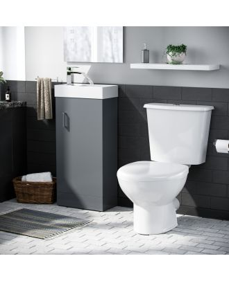 Pileh  White Basin Vanity Unit Toilet WC and Cistern