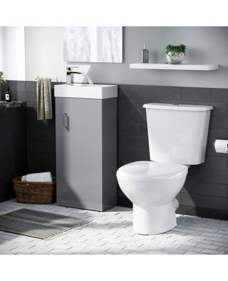 Pileh 400mm Vanity Basin Unit & Carder Close Coupled Toilet Light Grey