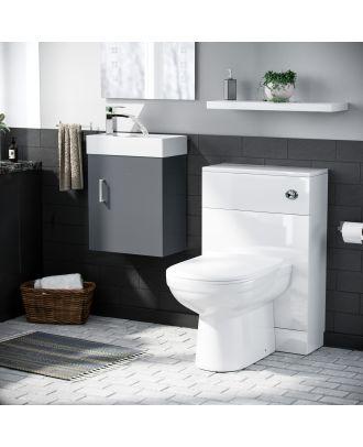 Pileh 400mm Wall Hung Vanity Basin Unit, WC Unit  & Eslo Back to Wall Toilet Dark Grey