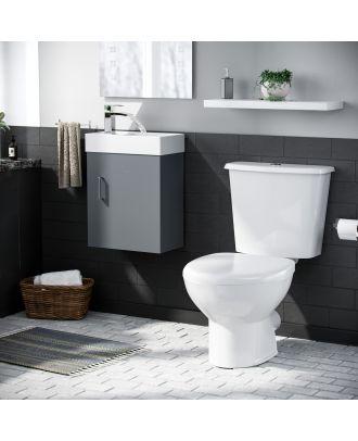 Pileh 400mm Wall Hung Vanity Basin Unit & Carder Close Coupled Toilet Dark Grey