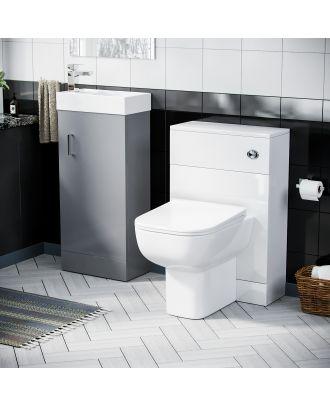 Pileh 400mm Vanity Basin Unit, WC Unit & Debra Back to Wall Toilet  Light Grey