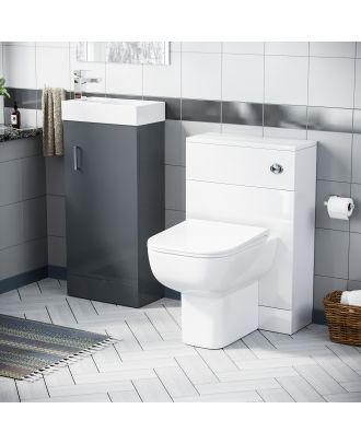 Pileh 400mm Vanity Basin Unit, WC Unit & Debra Back to Wall Toilet Grey