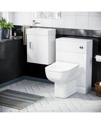Pileh 400mm Wall Hung Vanity Basin Unit, WC Unit  & Debra Back to Wall Toilet White