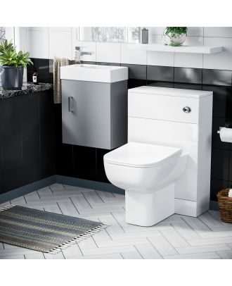Pileh 400mm Wall Hung Vanity Basin Unit, WC Unit  & Debra Back to Wall Toilet Light Grey