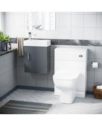 Pileh 400mm Wall Hung Vanity Basin Unit, WC Unit  & Debra Back to Wall Toilet Grey