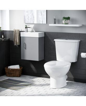 Pileh 400mm Wall Hung Vanity Basin Unit & Carder Close Coupled Toilet Light Grey