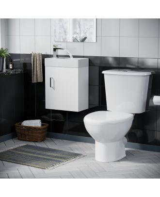 Pileh 400mm Wall Hung Vanity Basin Unit, & Carder Close Coupled Toilet White