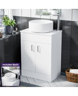 Pileh 500mm White Vanity Cabinet and Rounded Counter Top Basin Sink Unit
