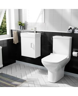 Pileh 400mm Wall Hung Vanity And Rimless Close Coupled Toilet White