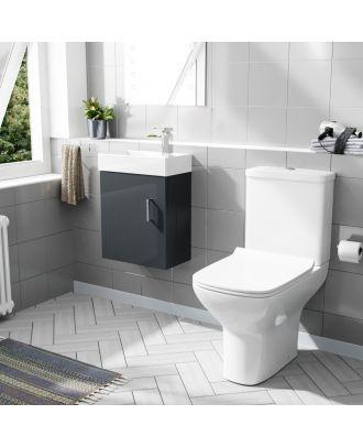 Pileh 400mm Wall Hung Vanity And Rimless Close Coupled Toilet Dark Grey