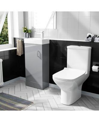Pileh 400mm Floorstanding Vanity Unit And Rimless Close Coupled Toilet Light Grey