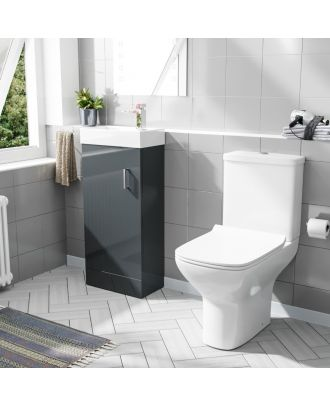 Pileh  400mm Floorstanding Vanity Unit And Rimless Close Coupled Toilet Dark Grey