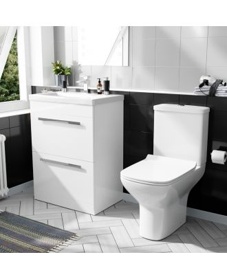 Pileh 600mm Floor standing 2 Drawer Vanity Unit And Rimless Close Coupled Toilet White