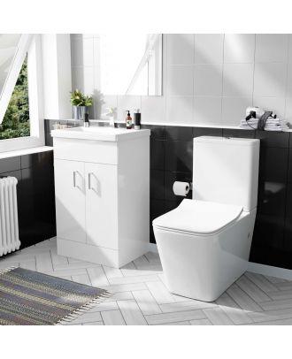Pileh 500mm Basin Vanity & Rimless Close Coupled Modern Toilet White