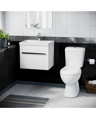 Pileh 500mm Wall Hung 1 Drawer Vanity Unit Gloss White And ECO Complete Toilet Set