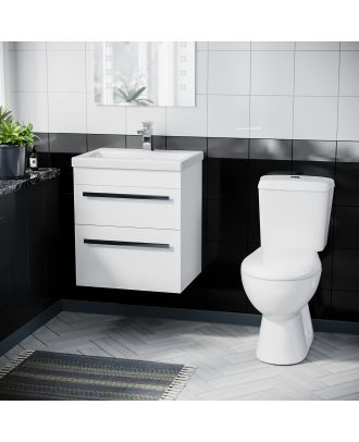 Pileh 500mm Wall Hung 2 Drawer Vanity Unit Gloss White And ECO Complete Toilet Set