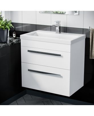 Pileh Wall Hung Cabinet 2 Drawer 600mm Vanity Unit Gloss White with Ceramic Sink Basin