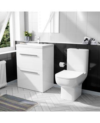 Pileh 600mm 2 Drawer Vanity Basin Unit & Bleu Close Coupled Toilet White