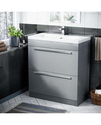 Pileh 800mm Light Grey 2 Drawer Vanity Storage Cabinet